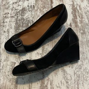 Calvin Klein Sondra black suede wedge shoes